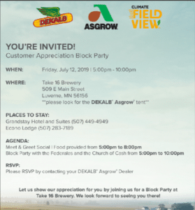 JULY 12th DEKALB/ASGROW BLOCKPARTY